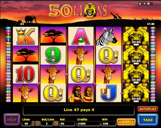 50 Lions Poker Machine