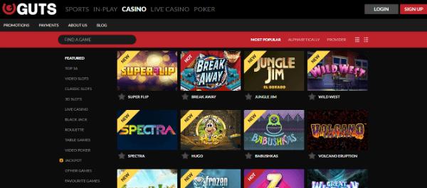 New Slots at Guts Casino
