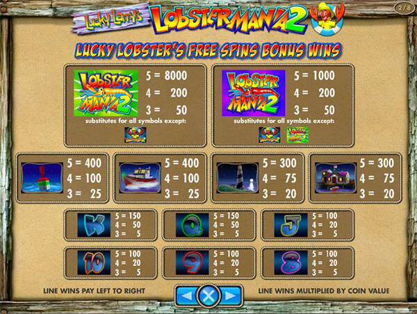 lucky larry's lobstermania 2 payouts
