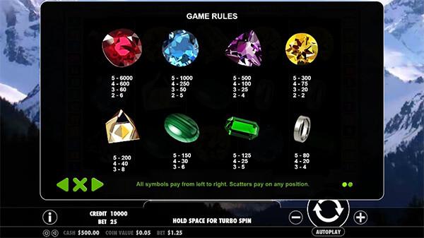 black diamond slot paytable
