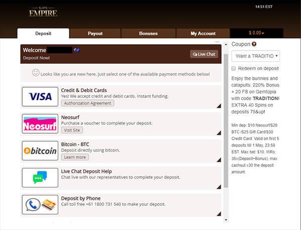 Slots Empire Casino Payment Methods